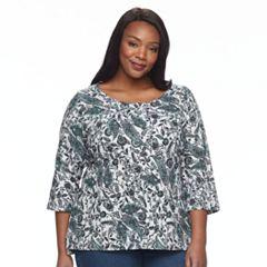 Plus Size Croft & Barrow® Button Sleeve Top