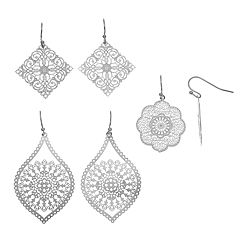 Filigree Scalloped, Oblong & Square Drop Earring Set