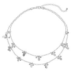 Beaded Teardrop Cluster Double Strand Station Necklace