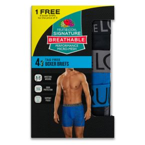 Men's Fruit of the Loom Signature 3-pack + 1 Bonus Breathable Micro-Mesh Boxer Briefs