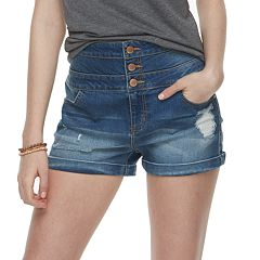 Juniors' Tinseltown Triple Stack Jean Shortie Shorts