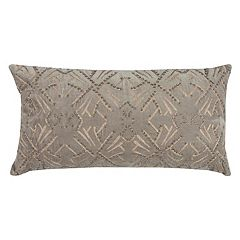 Rizzy Home Geometric Embroidered I Oblong Throw Pillow