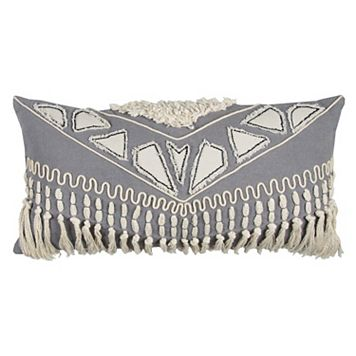 Rizzy Home Tribal Applique Knotted Oblong Throw Pillow