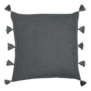 Rizzy Home Solid Textured Woven Tassels Throw Pillow