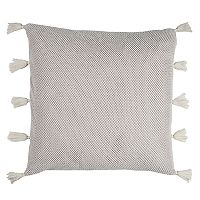 Rizzy Home Mesh Solid Applique Tassels Throw Pillow