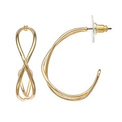 Napier Crisscross Tube Semi-Hoop Earrings