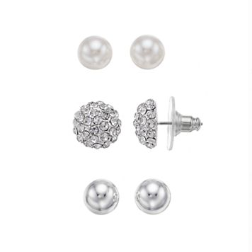 Napier Fireball Dome & Simulated Pearl Stud Earring Set