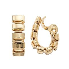 Napier Rectangle Clip-On U-Hoop Earrings