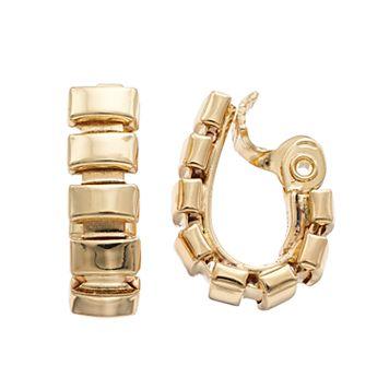 Napier Rectangle Clip-On U-Hoop Earrings