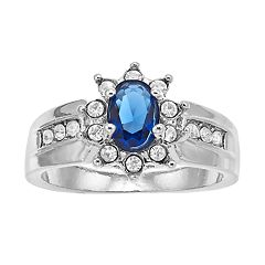 Blue Oval Halo Ring