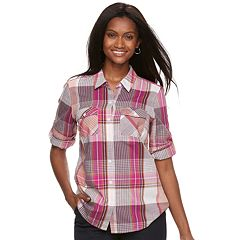 Petite Croft & Barrow® Roll-Tab Woven Shirt