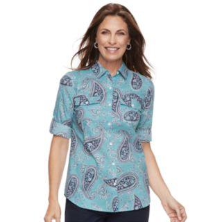 Petite Croft & Barrow® Roll-Tab Woven Shirt