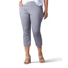 Plus Size Lee Elena Embellished Twill Pull-On Capris