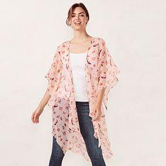 Women's LC Lauren Conrad Semi-Sheer Floral Bell Sleeve Kimono