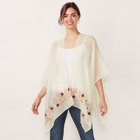Women's LC Lauren Conrad Semi-Sheer Embroidered Ruana