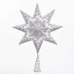 Kurt Adler Glittery White Star Christmas Tree Topper