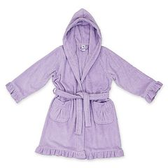 Kids Linum Home Textiles Terry Ruffled Hooded Bathrobe. Pretty Pink Purple 58969d886