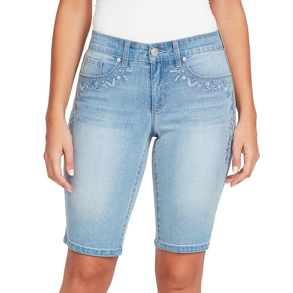 Women's Gloria Vanderbilt Jessa Embroidered Bermuda Jean Shorts