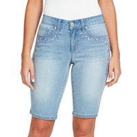 Women's Gloria Vanderbilt Jessa Embroidered Bermuda Jean Shorts