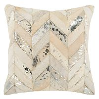 Safavieh Metallic Herringbone Cowhide Throw Pillow