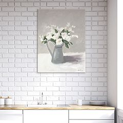 Artissimo Designs White In Pewter Jug III Canvas Wall Art