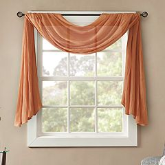 Madison Park Kaylee Solid Crushed Sheer Scarf Window Valance