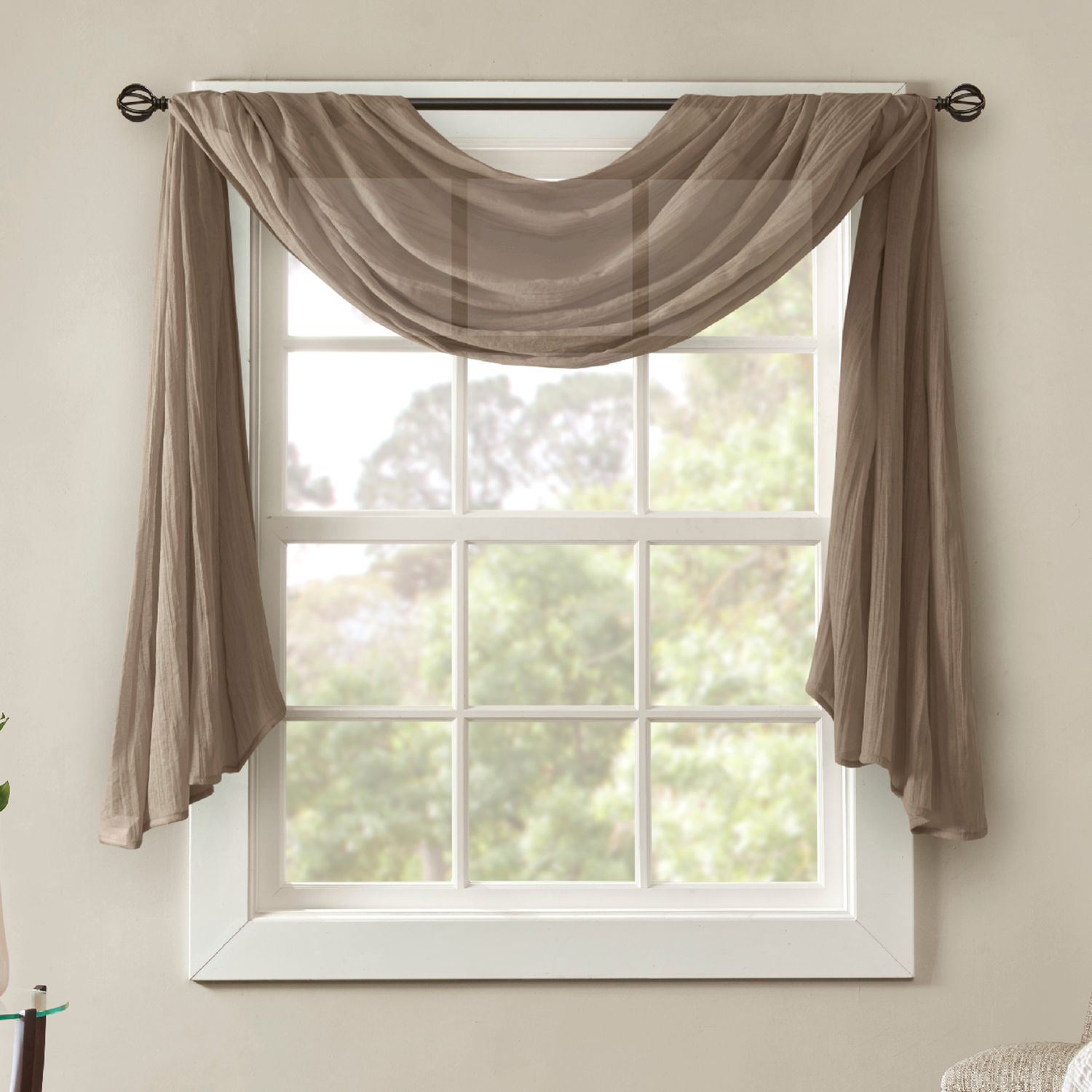High Quality Madison Park Kaylee Solid Crushed Sheer Scarf Window Valance