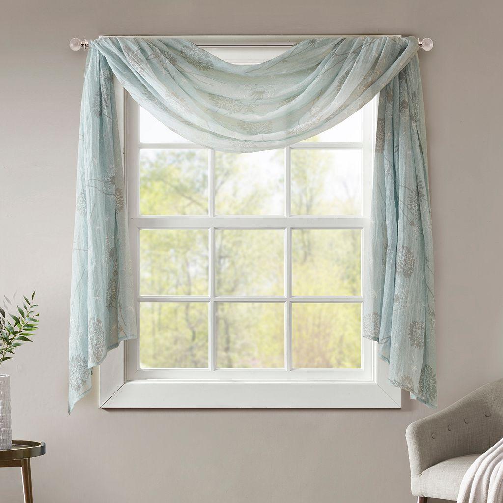 Madison Park Irie Printed Crushed Sheer Scarf Window Valance