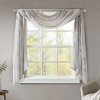 Madison Park Irie Printed Crushed Sheer Scarf Window Valance