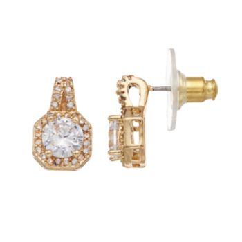 Napier Cubic Zirconia Octagon Doorknocker Earrings