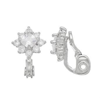 Napier Cubic Zirconia Starburst Clip-On Earrings