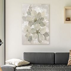 Artissimo Designs White On White Floral I Canvas Wall Art