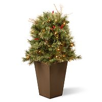National Tree Company 36 in Pre-Lit Glistening Pine Artificial Potted Bush