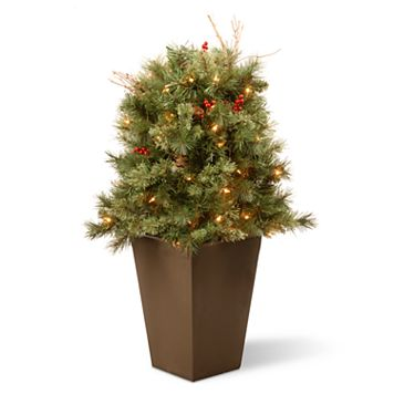 National Tree Company 36-in. Pre-Lit Glistening Pine Artificial Potted Bush