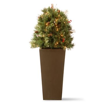 National Tree Company 48-in. Pre-Lit Glistening Pine Artificial Potted Bush