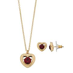 Napier Simulated Ruby Heart Jewelry Set