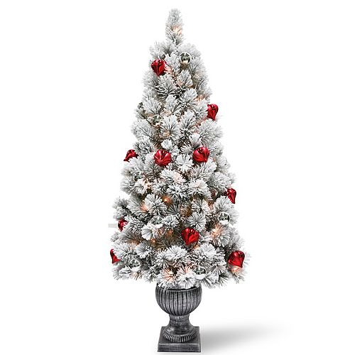 national tree company 5 ft pre lit snowy bristle pine indoor outdoor artificial christmas tree - Outdoor Artificial Christmas Tree