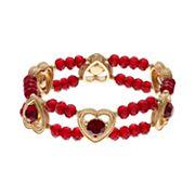 Napier Simulated Garnet Heart Beaded Double Strand Stretch Bracelet