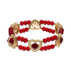 Napier Simulated Garnet Heart Beaded Double Strand Stretch Bracelet