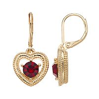 Napier Simulated Garnet Milgrain Heart Drop Earrings