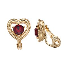 Napier Simulated Garnet Milgrain Heart Clip-On Earrings