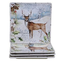 Certified International Winter Lodge Deer 4 pc Dinner Plate Set