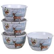 Certified International Winter Lodge Deer 4 pc Ice Cream Bowl Set