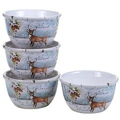Certified International Winter Lodge Deer 4-pc. Ice Cream Bowl Set