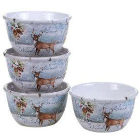 Certified International Winter Lodge Deer 4-pc. Ice Cream Bowl Set