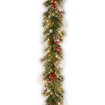 National Tree Company 9-ft. Pre-Lit Wintry Berry Pine Artificial Christmas Garland