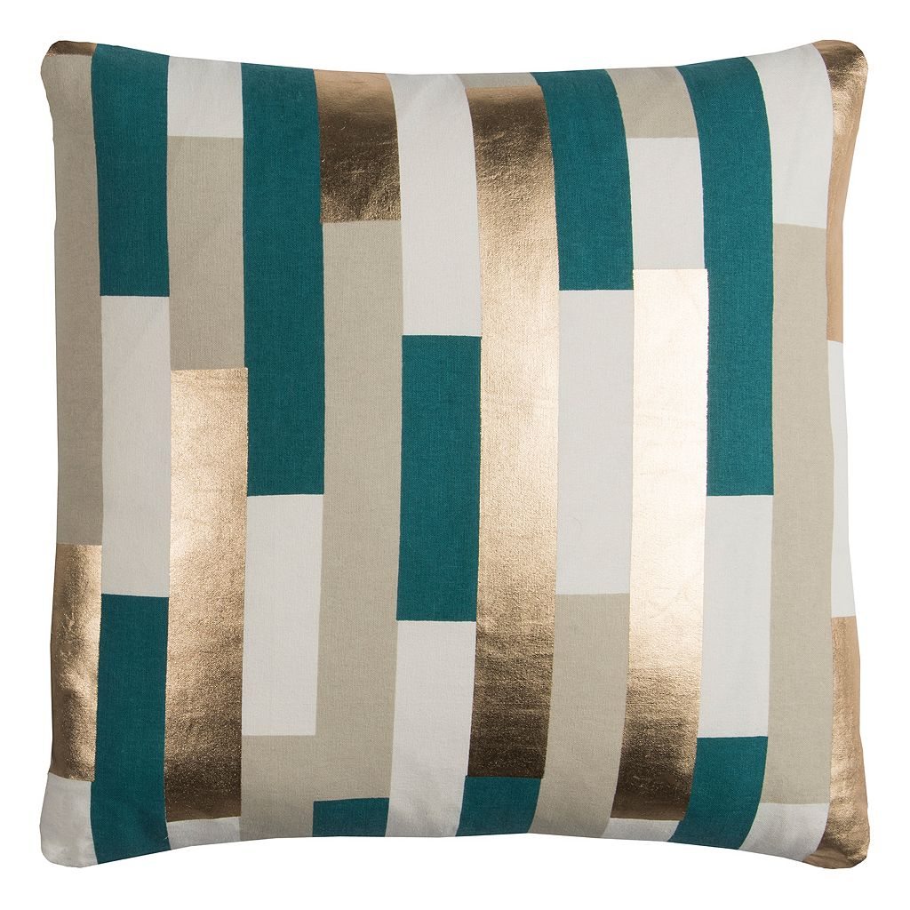 Rizzy Home Rachel Kate Stripe Foil Printed Throw Pillow
