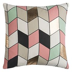 Rizzy Home Rachel Kate Geometric III Foil Printed Throw Pillow