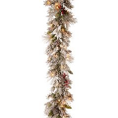 National Tree Company 9-ft. Pre-Lit Snowy Bedford Pine Artificial Christmas Garland