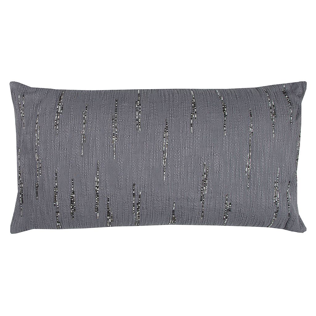 Rizzy Home Textured Beaded Oblong Throw Pillow